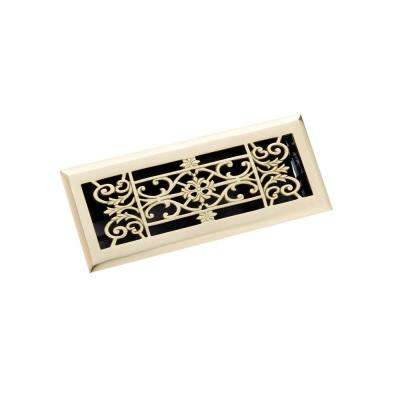 4 in. x 12 in. Decorative Floor Register, Polished Brass