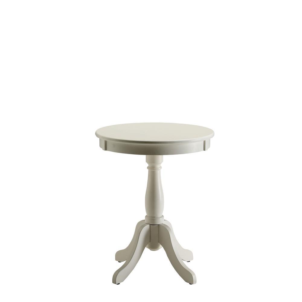 Amelia White Solid Wood Leg Side Table