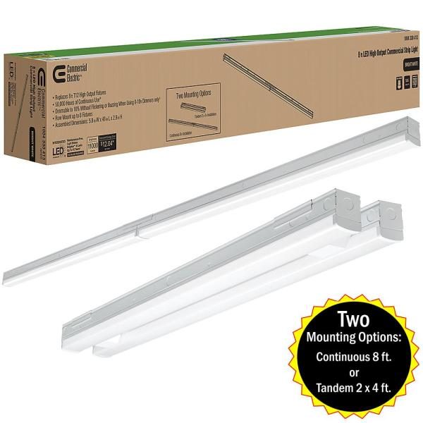 8 ft. (Two 4 ft.) 440-Watt Equivalent Integrated LED White Commercial Strip Light Fixture High Output 11000 Lumens 4000K