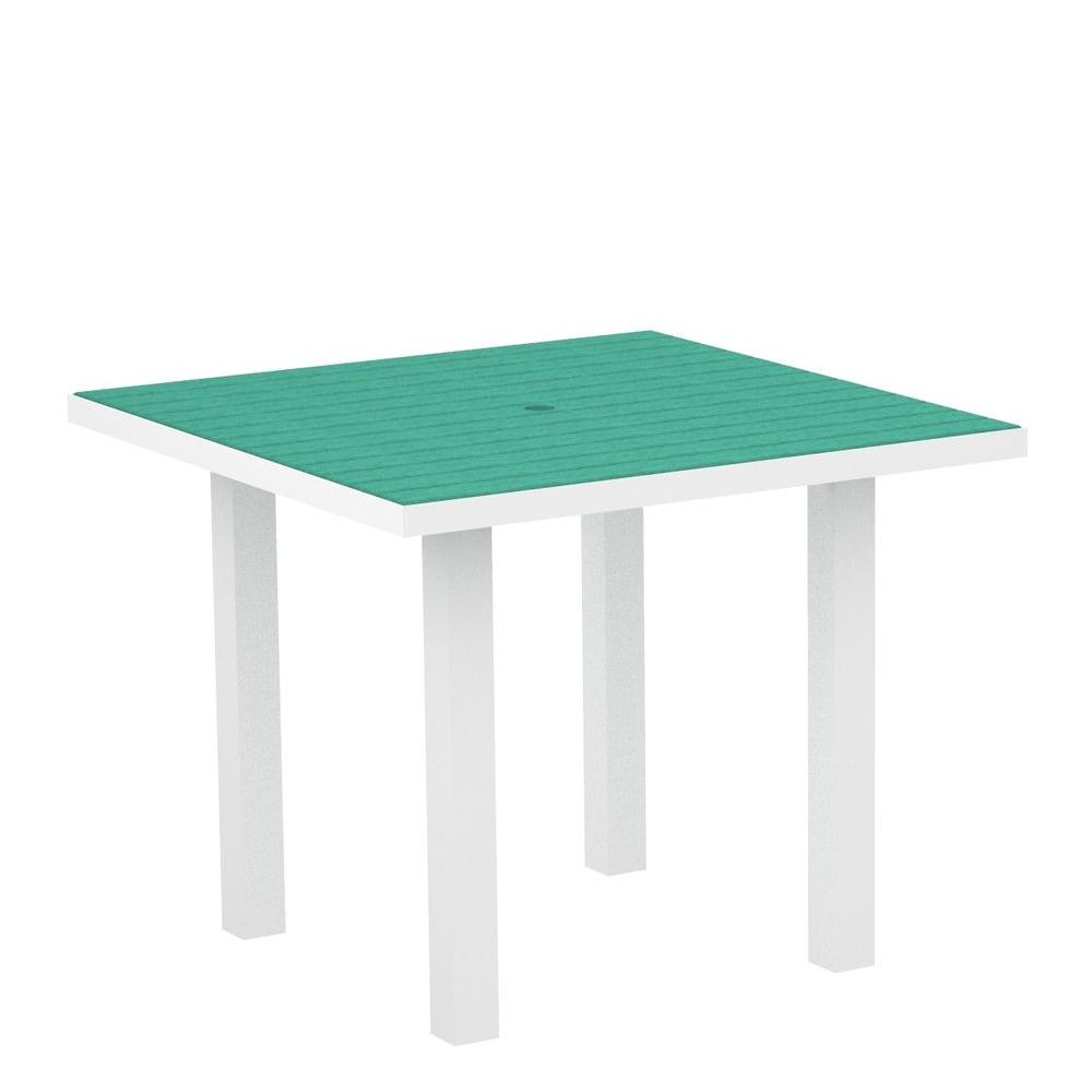 POLYWOOD Euro Gloss White 36 in. Square Patio Dining Table with Aruba Top-DISCONTINUED