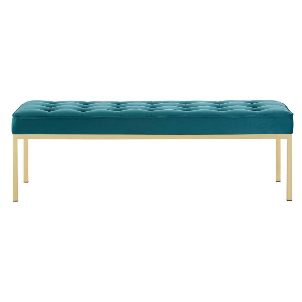 Loft Gold Teal Stainless Steel Leg Large Performance Velvet Bench