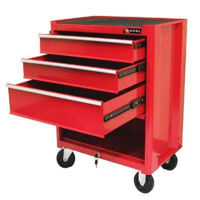 27 in. 3-Drawer Steel Roller Cabinet Tool Chest in Red