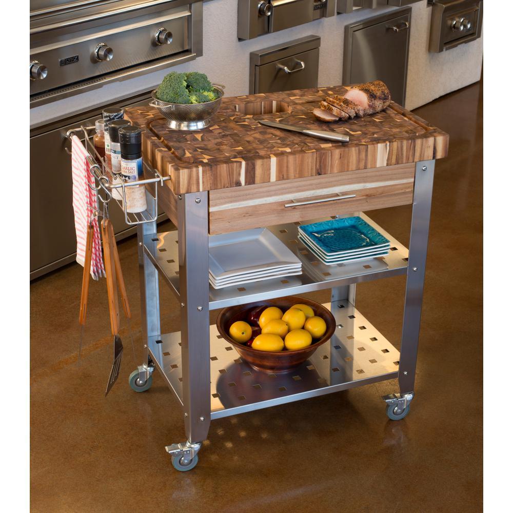 Pro Stadium Natural Kitchen Cart with Storage