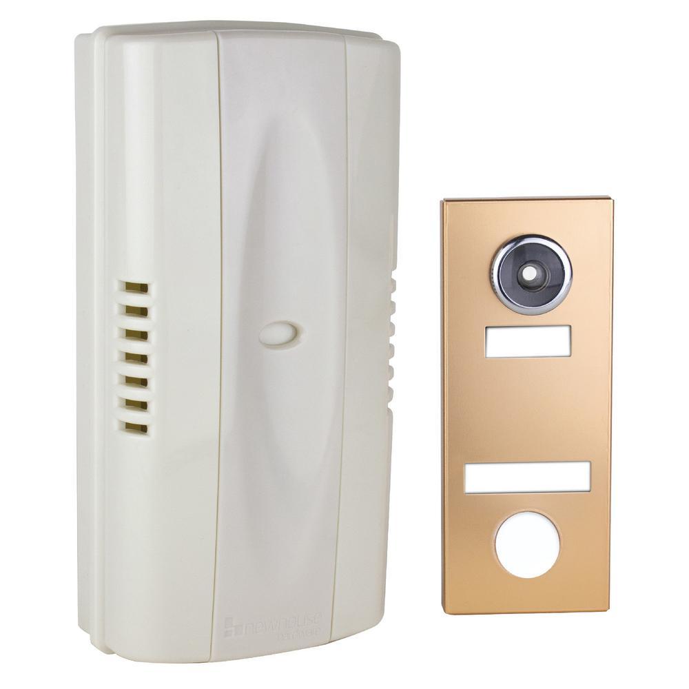 2-Note Mechanical Wireless Doorbell Chime and Doorbell Push Button with Built-In Door Viewer, Bronze