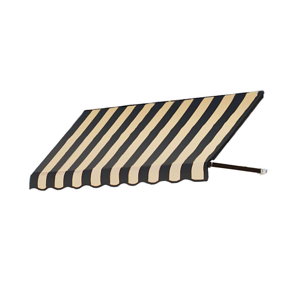 AWNTECH 12 ft. Dallas Retro Window/Entry Awning (56 in. H x 48 in. D) in Black/Tan Stripe