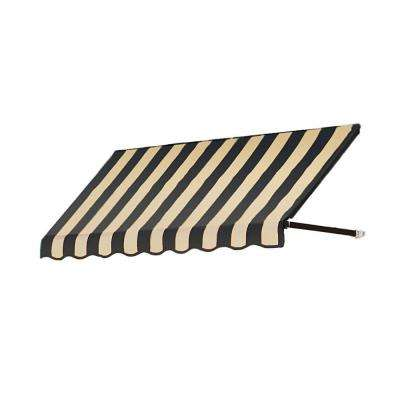 40 ft. Dallas Retro Window/Entry Awning (24 in. H x 48 in. D) in Black/Tan Stripe