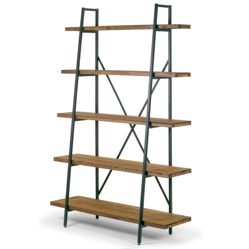 "Ailis 71.5"" Leaning Etagere Brown Pine Wood Metal Frame Bookcase Five-shelf Media Tower"