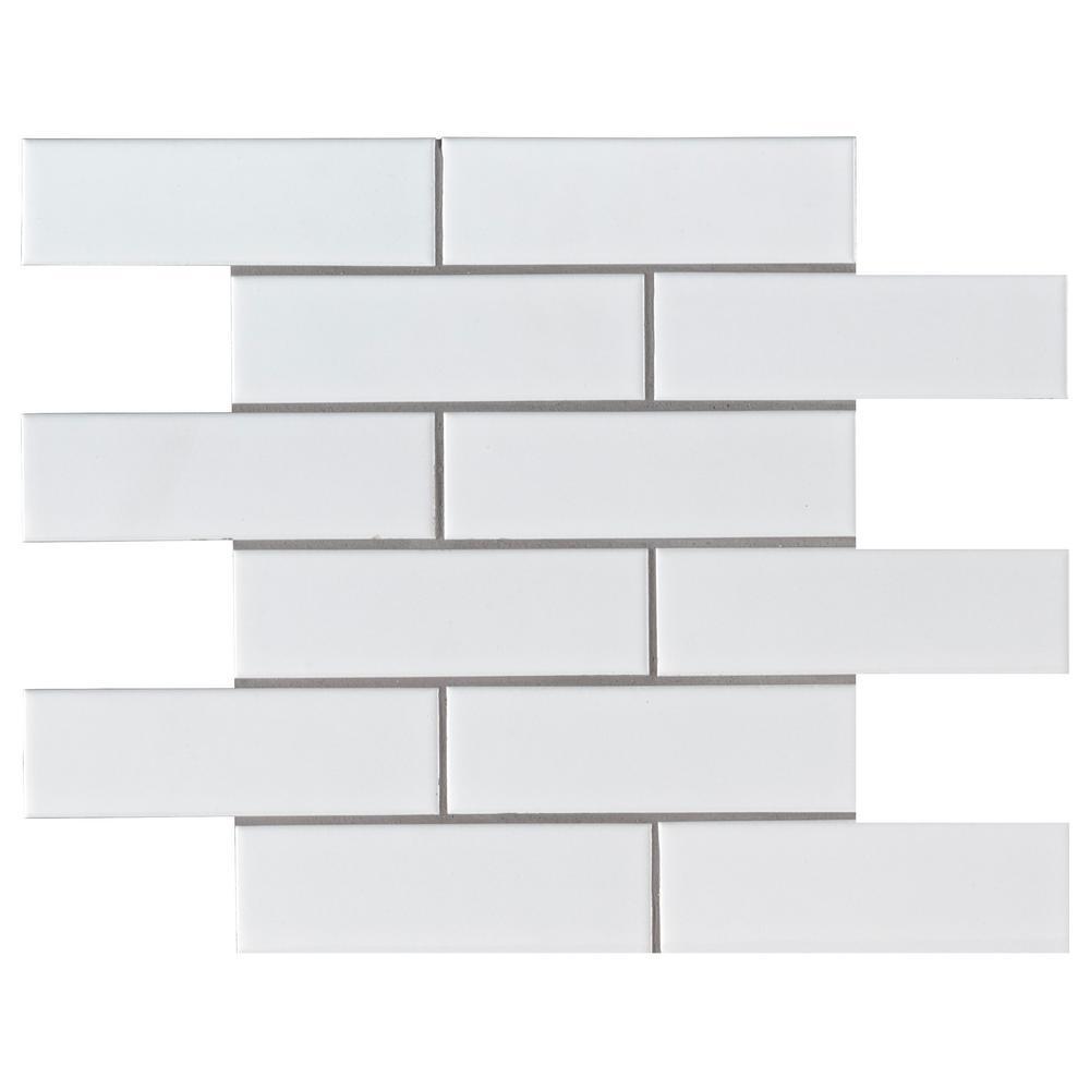 Retro Brick Bianco 11.57 in. x 11.3 in. x 6mm Matte Porcelain Mesh-Mounted Mosaic Tile (13.65 sq. ft./Case)