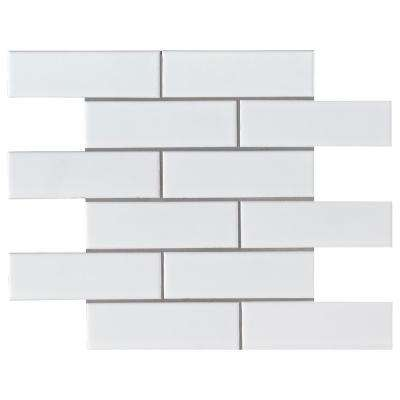 Retro Brick Bianco 11.57 in. x 11.3 in. x 6 mm Porcelain Mesh-Mounted Mosaic Tile (13.65 sq. ft. / case)