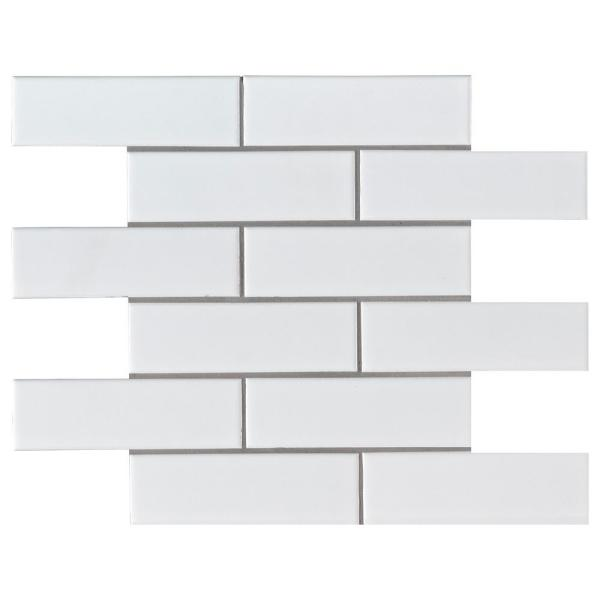 Retro Brick Bianco 11.57 in. x 11.3 in. x 6mm Matte Porcelain Mesh-Mounted Mosaic Tile (13.65 sq. ft./Case)