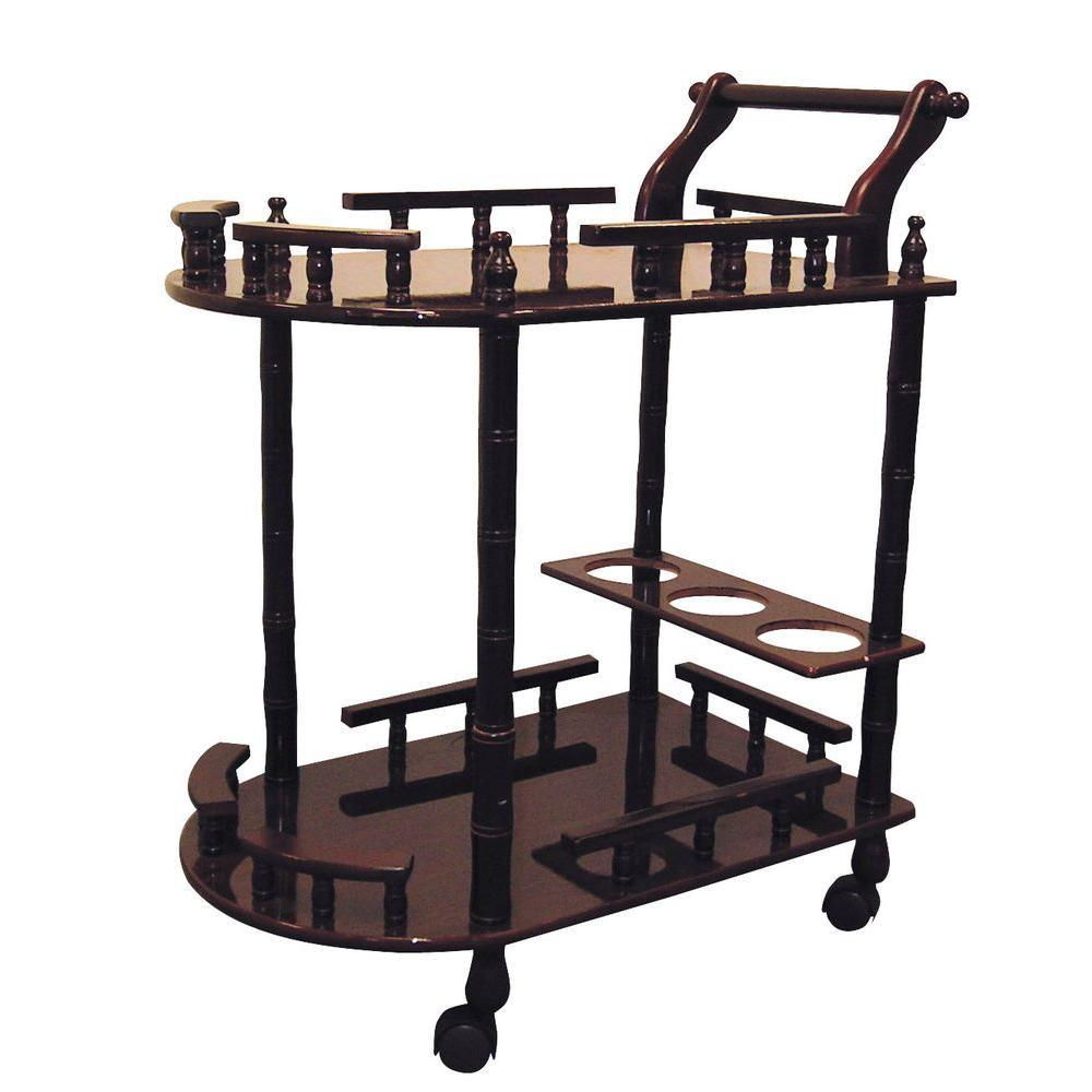 Rolling Serving Cart Storage Wine Drink Shelves Kitchen Cocktail Bar ...