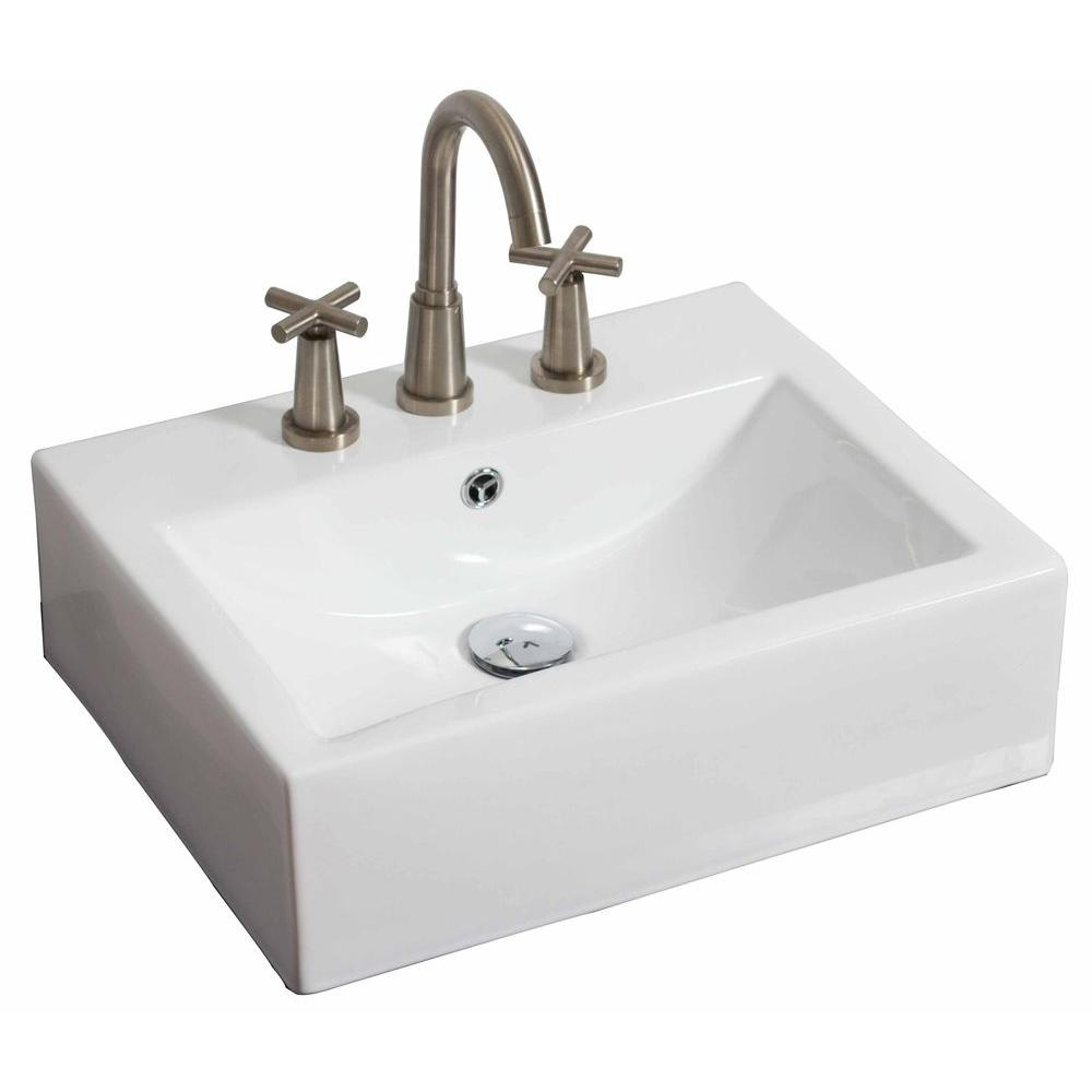 American Imaginations 20.5-in. W x 16-in. D Wall Mount Rectangle Vessel Sink In White Color For 8-in. o.c. Faucet