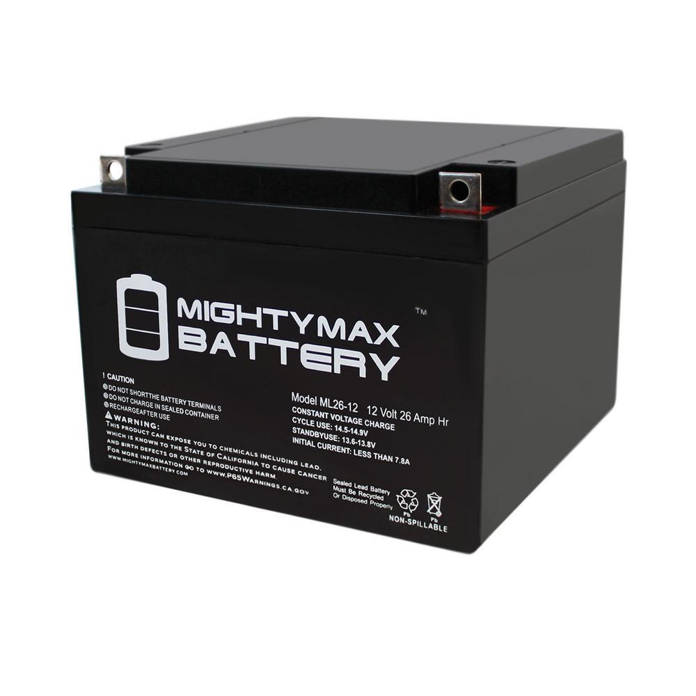 12-Volt 26 Ah T3 Terminal Rechargeable Sealed Lead Acid (SLA) Battery