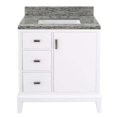 Shaelyn 31 in. W x 22 in. D Bath Vanity in White with Granite Vanity Top in Santa Cecilia with White Sink
