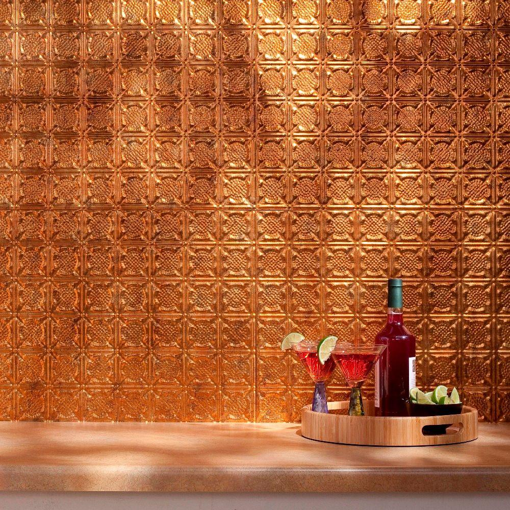 Fasade 24 in. x 18 in. Traditional 6 PVC Decorative Backsplash Panel in Muted Gold
