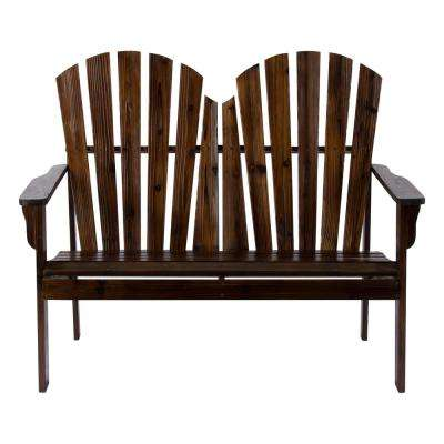 37 in. T Burnt Brown Rockport Wood Outdoor Loveseat Bench
