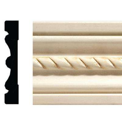 1433-7 1/2 in. x 3 in. x 84 in. White Hardwood Embossed Rope Casing Moulding