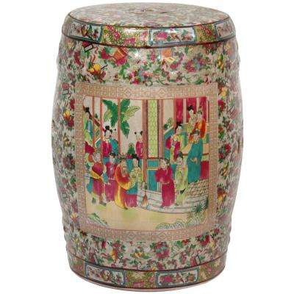 Oriental Furniture Rose Medallion Porcelain Ottoman