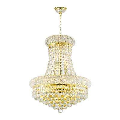 Empire 8-Light Polished Polished Gold and Clear Crystal Chandelier