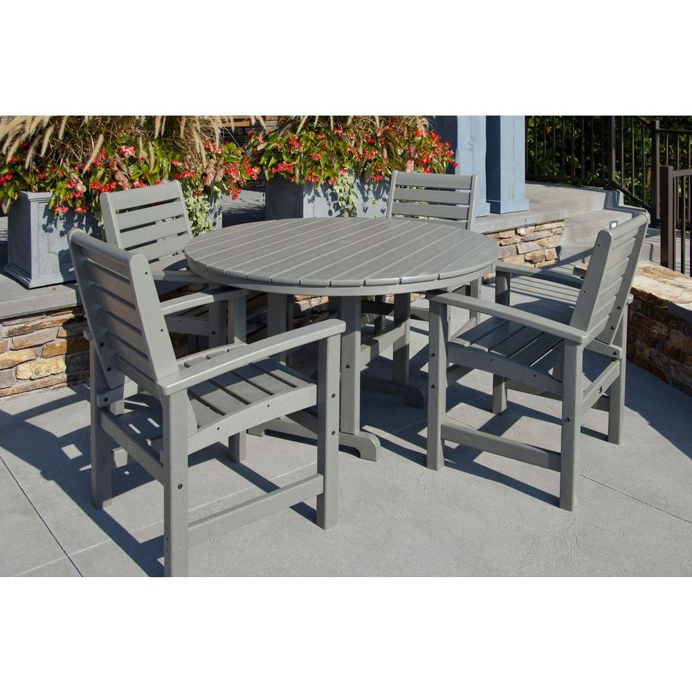 grey outdoor dining set patio furniture polywood signature slate grey 5piece plastic outdoor patio dining set