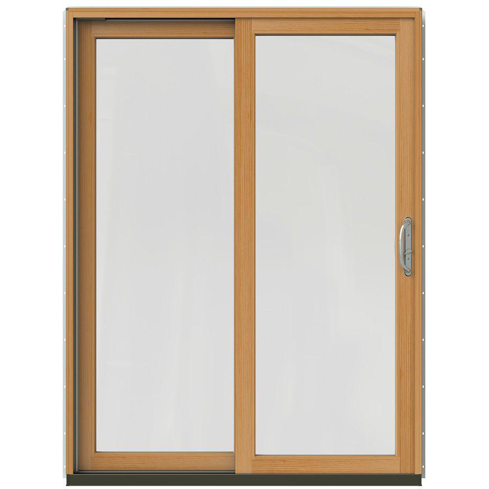 Jeld wen 59 1 4 in x 79 1 2 in w 2500 black prehung left for Wood sliding patio doors