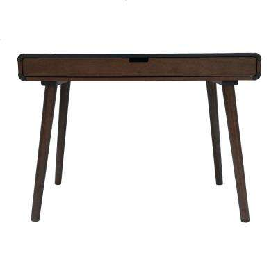 Peninah Mid-Century Modern Two-Tone Charcoal Gray and Medium Brown Rubberwood Writing Desk