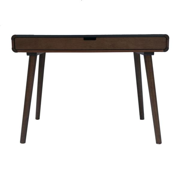 Noble House Peninah Mid-Century Modern Two-Tone Charcoal Gray and Medium Brown Rubberwood Writing Desk