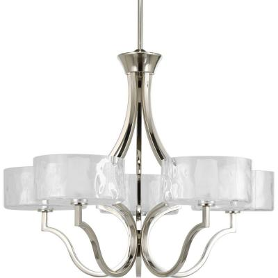 Caress Collection 5-Light Polished Nickel Chandelier with Shade