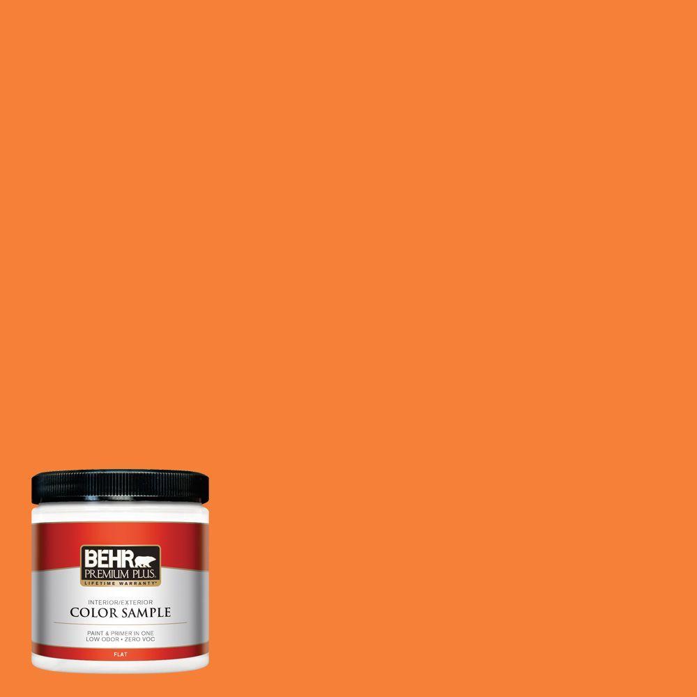 230b 6 Orange Burst Flat Interior Exterior Paint And Primer In One Sample