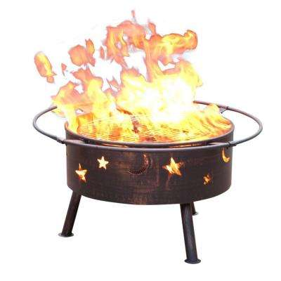 32 in. Golden Brush Starlight Steel Fire Pit