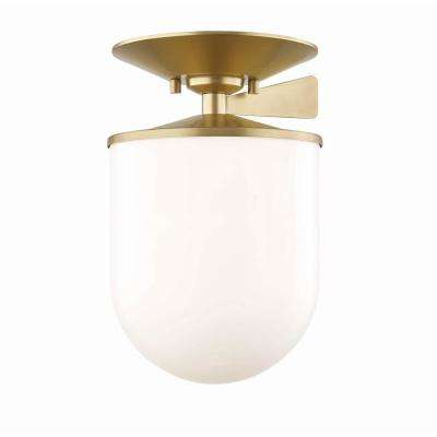 Audrey 1-Light 7.5 in. W Aged Brass Semi-Flush Mount with Opal Glossy Glass Shade