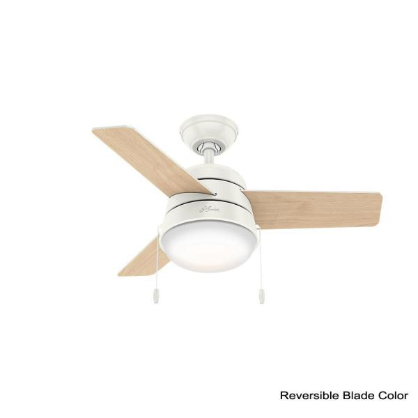 Hunter Aker 36 In Led Indoor Fresh White Ceiling Fan With Light 59301 The Home Depot