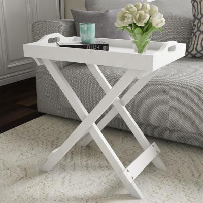 White Wooden Folding End Table with Removable Tray