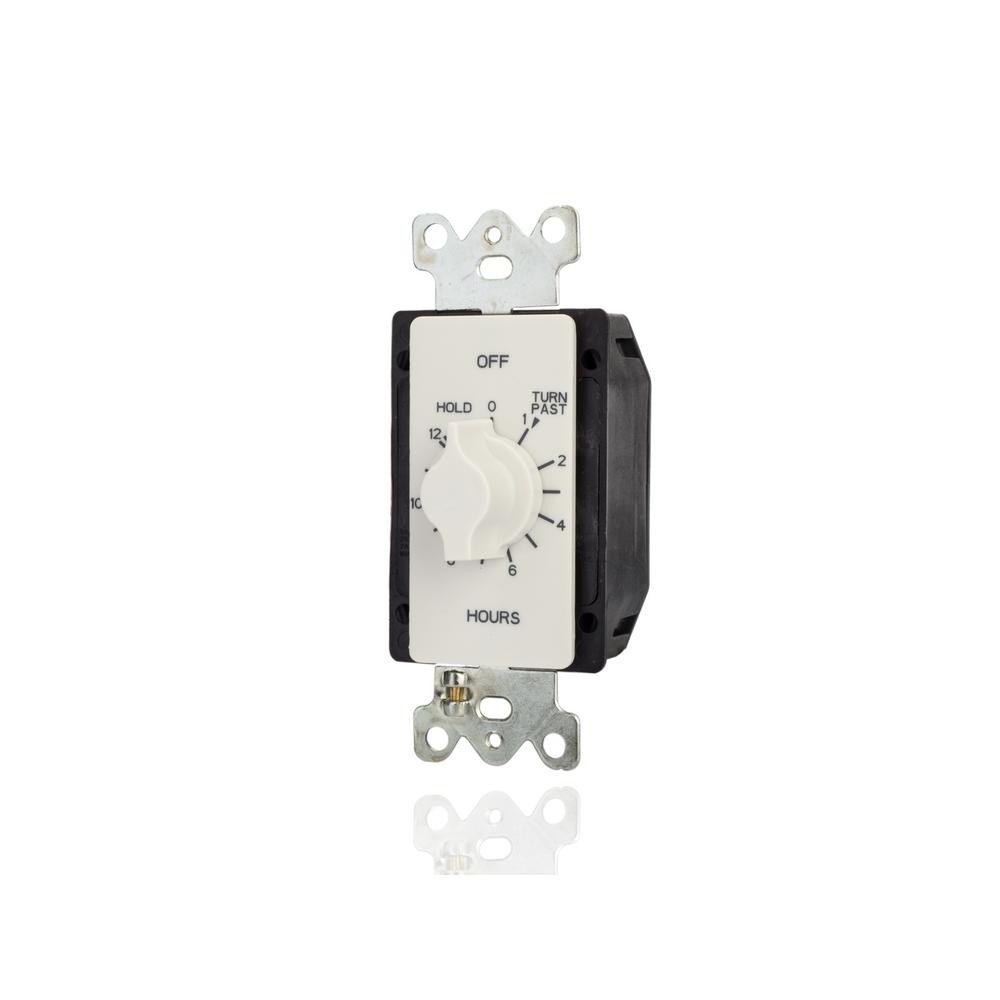 TORK 20 Amp 12-Hour In-Wall Auto-Off Spring Wound Timer, White This spring wound timer allows you to set your lighting, fans, bathroom heat lamps, thermostats or appliances to automatically turn off, helping you to save energy and money. The easy-to-use, twist dial timer features easy wiring with no neutral required, ideal for retrofitting existing wall switches. This timer is designed to replace any standard single or multi-gang wall switch. The  2-in-1  switch configuration wiring can be used for SPDT and SPST. The operating temperature is 32F to 122F (0C to 50°C). The timer is available in white. Wall plate is not included.
