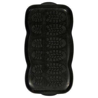 Rubber Doormat Collection 16 in. x 32 in. Black Rubber Boot Tray