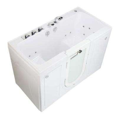 Tub4Two 60 in. Walk-In Whirlpool and MicroBubble Bathtub in White, LH Outward Door, Heated Seat, Faucet 2 in. Dual Drain