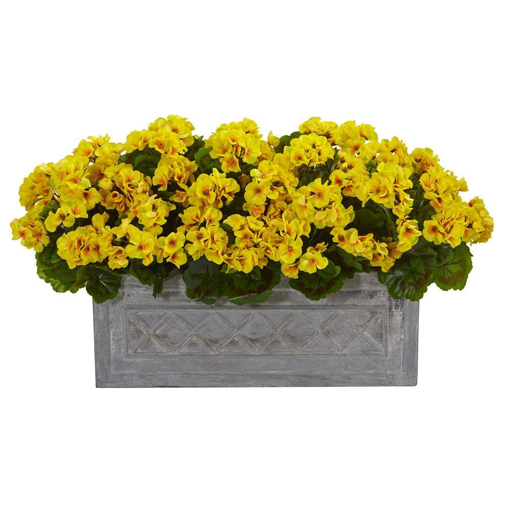 Indoor/Outdoor 18 in. Geranium Artificial Plant in Stone Planter UV Resistant