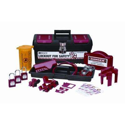 Personal Valve and Electrical Lockout Kit with 3 Keyed Alike Safety Padlocks