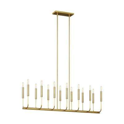 ED Ellen DeGeneres Crafted by Generation Lighting Brianna 47.75 in. W 14-Light Burnished Brass Linear Chandelier