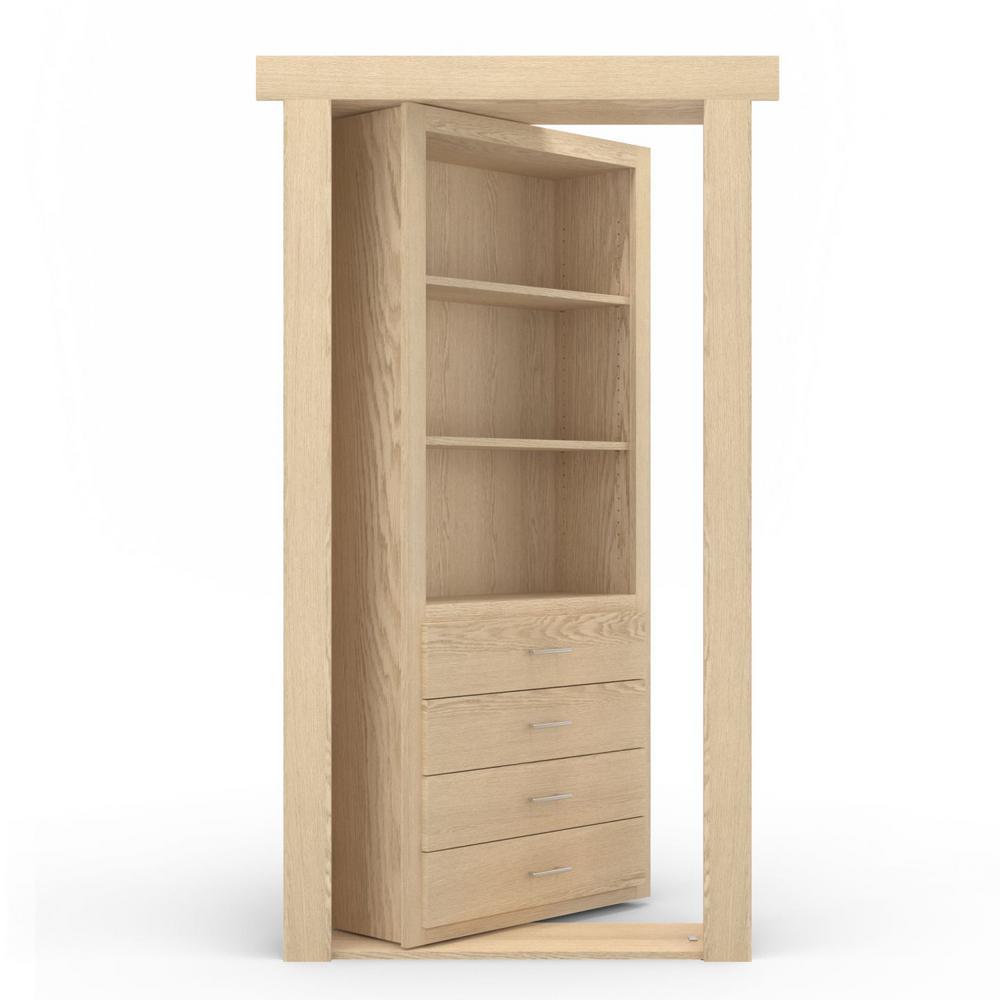 30 in. x 80 in. Flush Mount Assembled Dresser Door Oak Unfinished Left-Hand Outswing