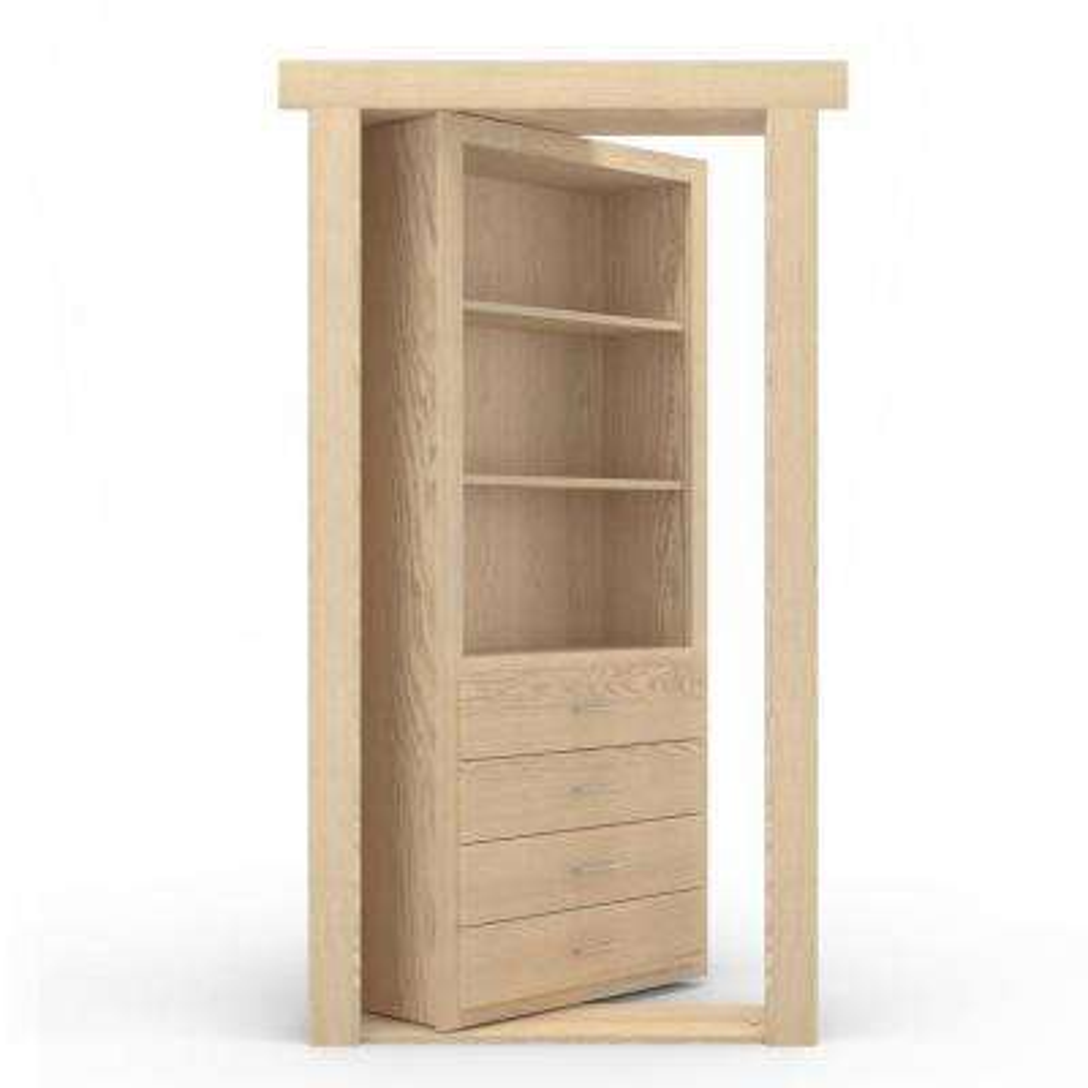 36 in. x 80 in. Flush Mount Assembled Dresser Door Oak Unfinished Left-Hand Outswing