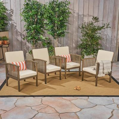 Casa Acacia Grey Wood Outdoor Lounge Chairs with Cream Cushions (4-Pack)