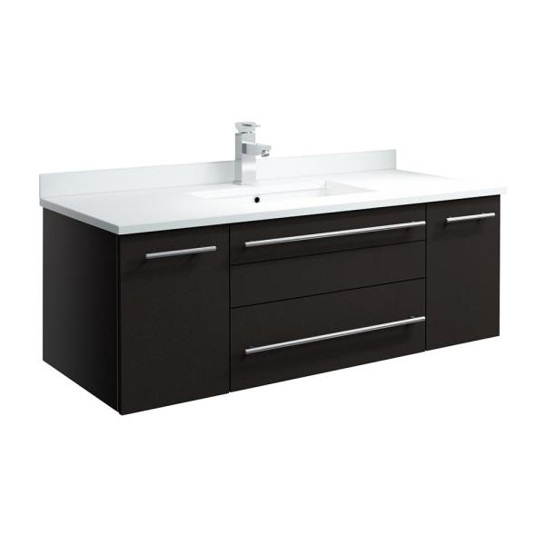 Lucera 42 in. W Wall Hung Bath Vanity in Espresso with Quartz Stone Vanity Top in White with White Basin