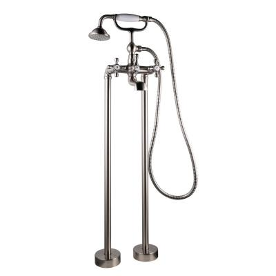 Ontario 2-Handle Freestanding Tub Faucet with Handle Shower in Brush Nickel