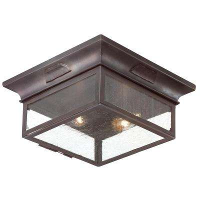 Newton 2-Light Old Bronze Outdoor Flushmount