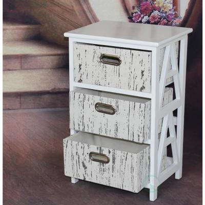 Antique Wood Storage Chest Nightstand with 3 Fabric Drawers