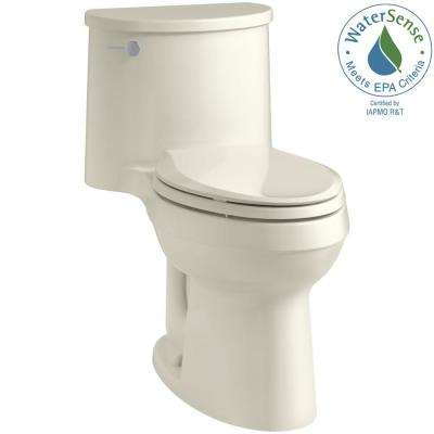 Adair Comfort Height 1-piece 1.28 GPF Single Flush Elongated Toilet with AquaPiston Flush Technology in Biscuit
