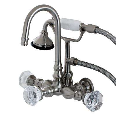 Vintage Crystal 3-3/8 in. Center 3-Handle Claw Foot Tub Faucet with Handshower in Brushed Nickel
