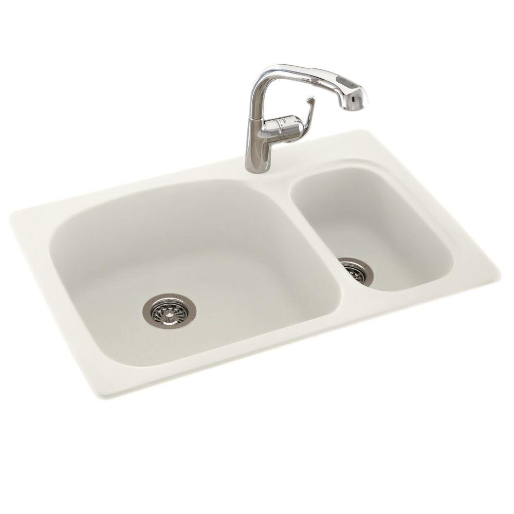 small white kitchen sinks swan drop in undermount composite 33 in 1 70 30 5570