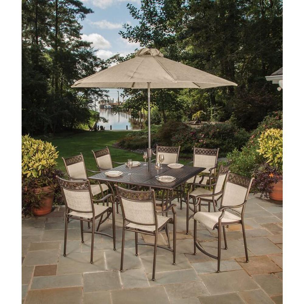 11-Piece Aluminum Outdoor Bar Height Dining Set and Umbrella